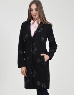 Palton negru cu insertii florale