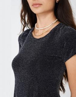 Rochie mini cu insertii metalizate
