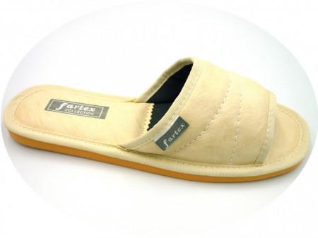 papuci casa-piele-crem