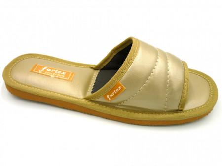 papuci casa-piele-auriu