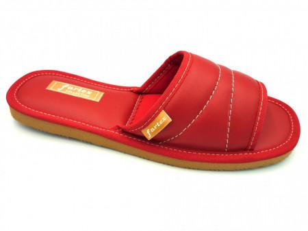 papuci casa-piele-rosu