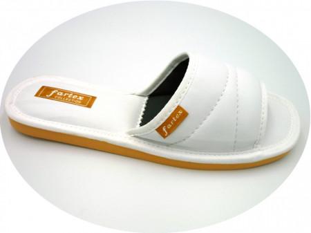 papuci casa-piele-alb