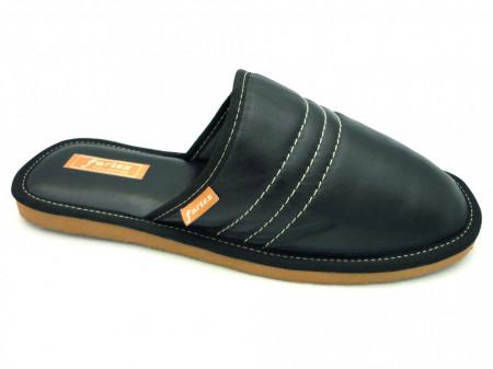 papuci casa-piele-barbati-negru-NE