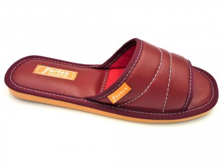 papuci casa-piele-visiniu