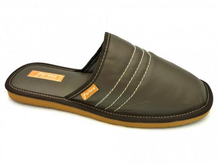 papuci casa piele maro