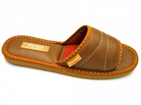 papuci casa-piele-maro