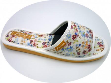 papuci casa-piele-floricele