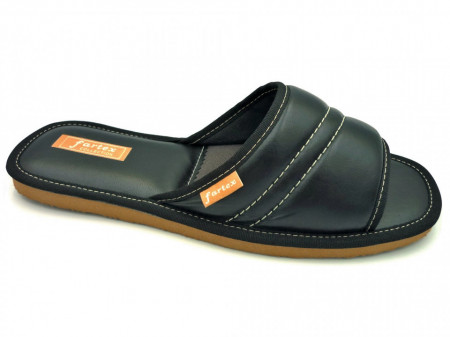 papuci casa piele negru