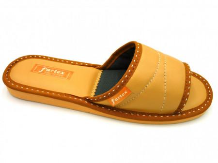 papuci casa-piele-ocru
