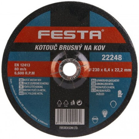 Brusna ploča za metal fi 230/6,4mm Festa