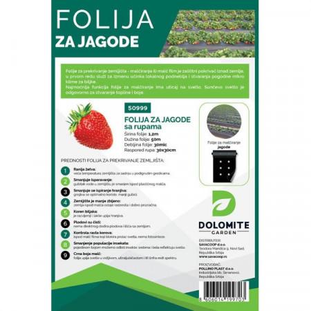 Malč folija za jagode 1,2m x 50m 30mic sa rupama 30x30 DOLOMITE