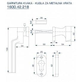 Kvaka - kugla za metalna bronzana vrata