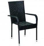 Baštenska stolica od ratana - crna BAY