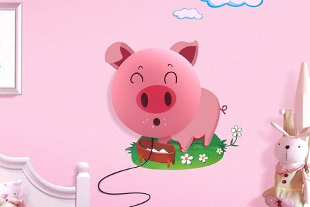 Lampa de perete Lovely Piggy, cu stickere