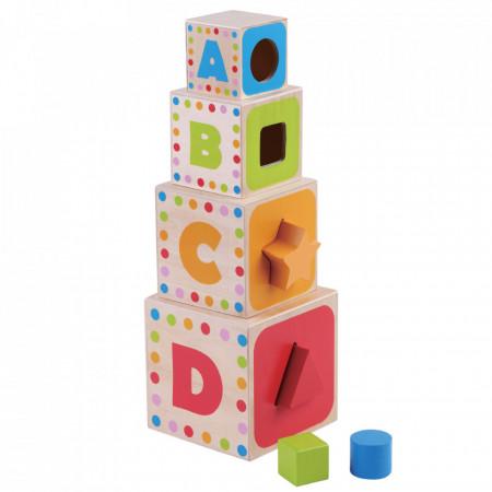 Cuburi de construit cu forme si litere JUMINI