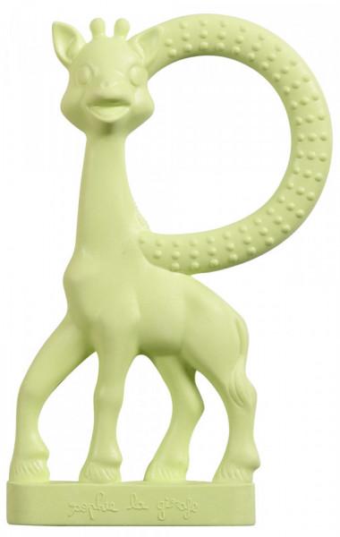 Inel dentitie vanilie in cutie cadou, Girafa Sophie Verde