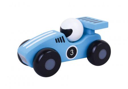 Masinuta de curse albastra din lemn natural JUMINI