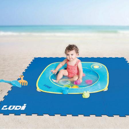 Pachet-Minipiscina de plaja cu jucarii 123 SOARE+Covoras din spuma Sport