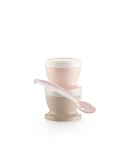 Set 2 recipiente cu capac si lingurita Thermobaby Powder Pink