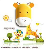 Lampa de veghe Girafa, cu stickere de perete