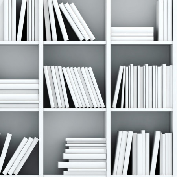 Fototapet 3D Biblioteca cu Carti si Rafturi Albe LIB10