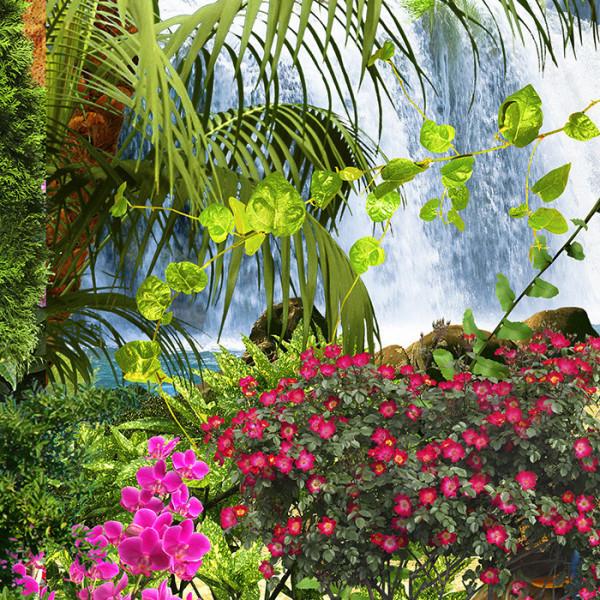 Fototapet 3D Cascada Printre Coloane cu Flori DIF18
