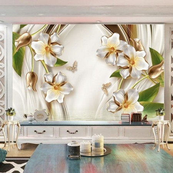 Fototapet 3D Flori Albe cu Lalele Aurii BES15