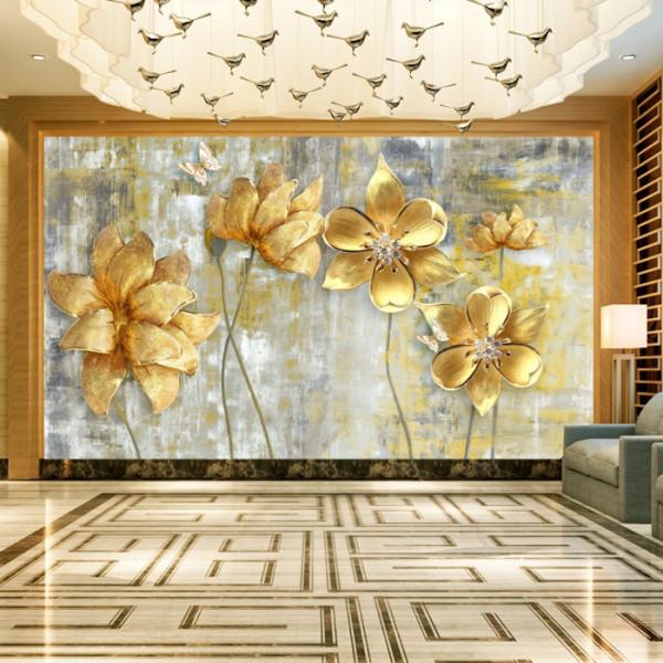 Fototapet 3D Flori Aurii cu Cristale OPOS101