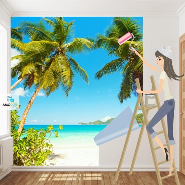 Fototapet Vedere La Ocean Printre Palmieri PMO78