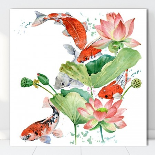 Tablou Canvas Flori de Lotus cu Pesti Koi SEF82