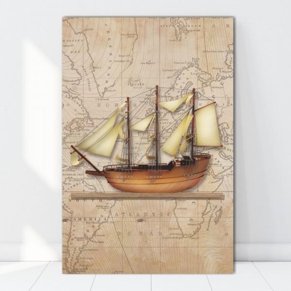 Tablou Canvas Galion pe Harta Vintage, Nava cu Panze BES30
