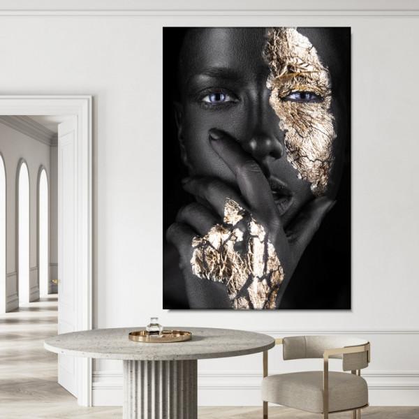 Tablou Canvas Portret Fashion Negresa cu Machiaj Auriu BGM64