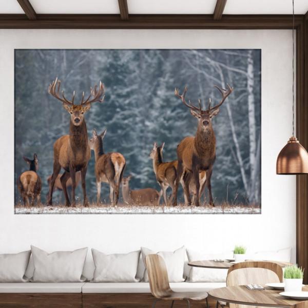 Tablou Canvas Turma de Cerbi In Padure Iarna ASJ23