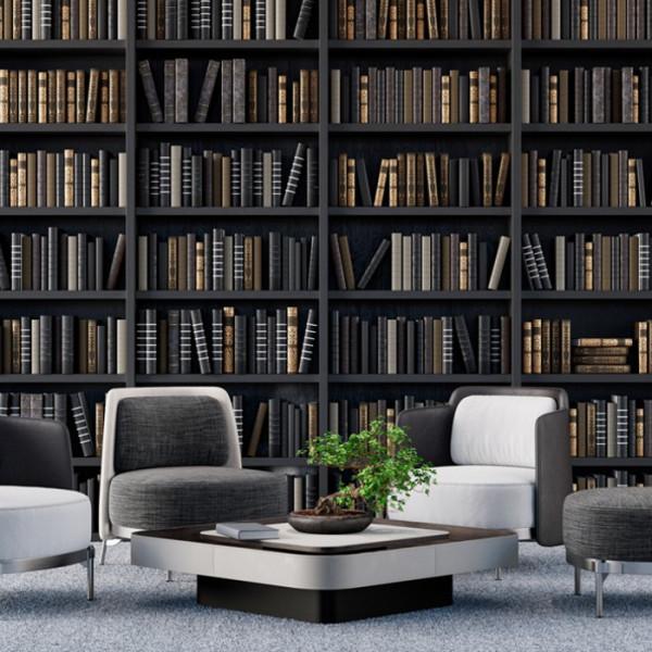 Fototapet 3D Biblioteca cu Rafturi Negre LIB9