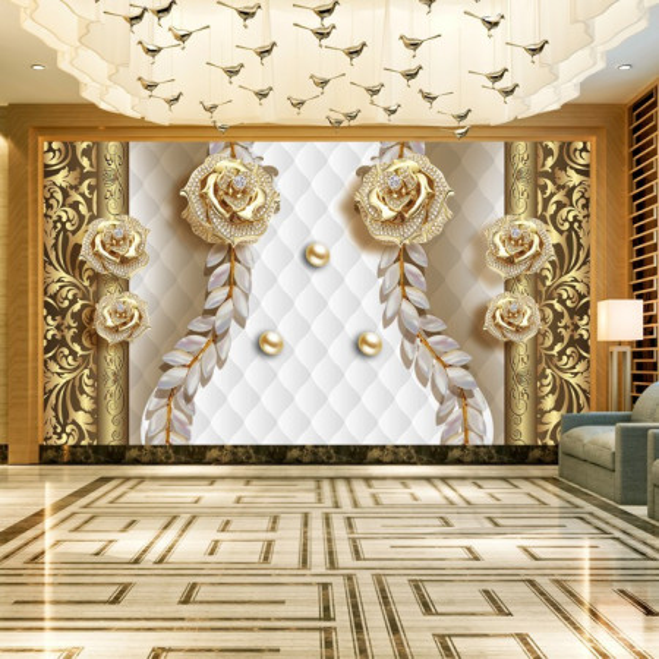 Fototapet 3D Bijuterii cu Cristale si Flori Aurii OPOS105