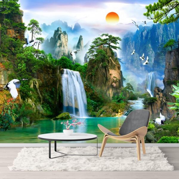 Fototapet 3D Cascada In Peisaj Exotic OPO53
