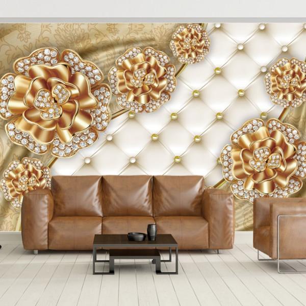 Fototapet 3D Flori Aurii cu Cristale BES18