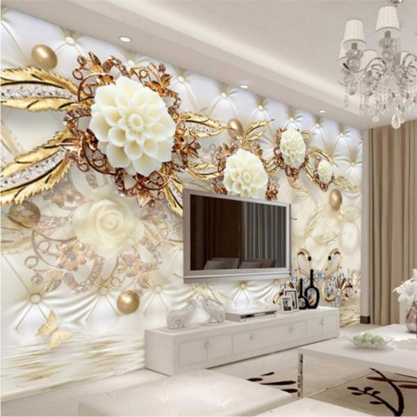 Fototapet 3D Flori cu Sfere si Frunze Aurii PFT37