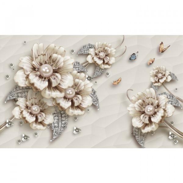 Fototapet 3D Flori Imperiale Cu Perle PFT10