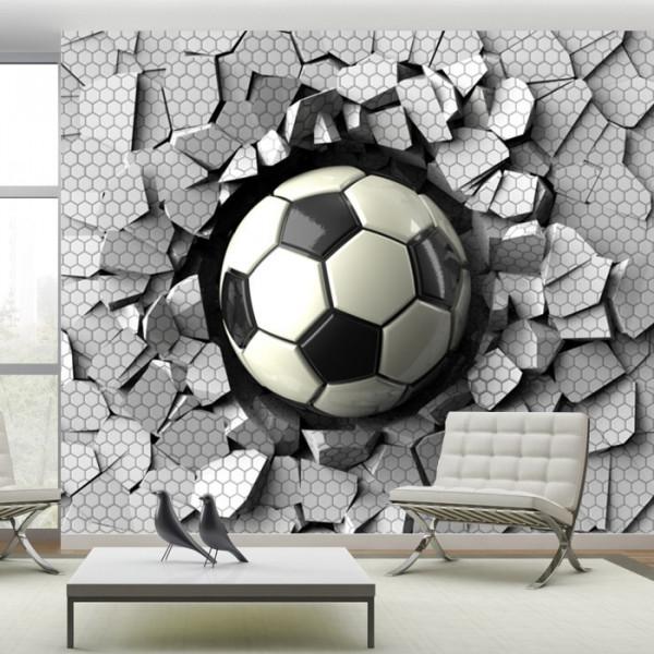 Fototapet 3D Minge Fotbal in Zid Spart OPOS96