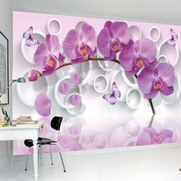 Fototapet 3D Orhidee Cu Fluturi OPOS25