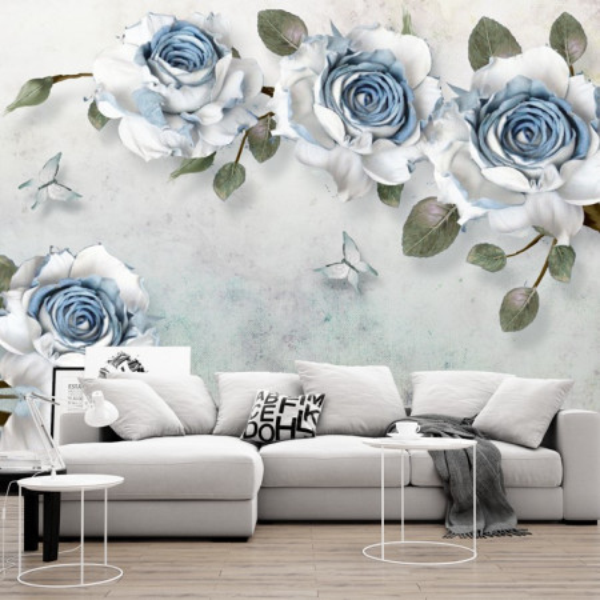Fototapet 3D Trandafiri Albi- Albastri PFT50