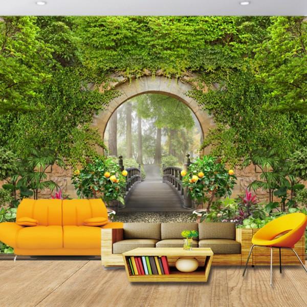 Fototapet 3D Zid cu Trecere Prin Arcada cu Flori GRD34
