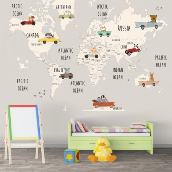 Fototapet Camere pentru Copii, Harta Lumii cu Masinute HCG2