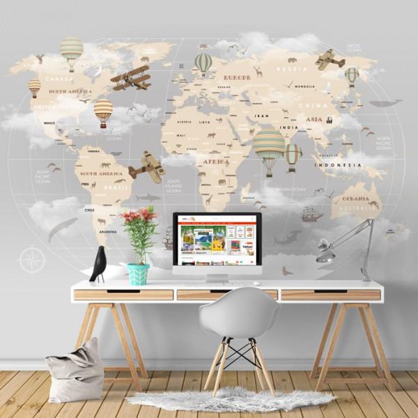 Fototapet Harta Lumii pentru Camera Copilului cu Avioane si Baloane cu Aer Cald HCG1