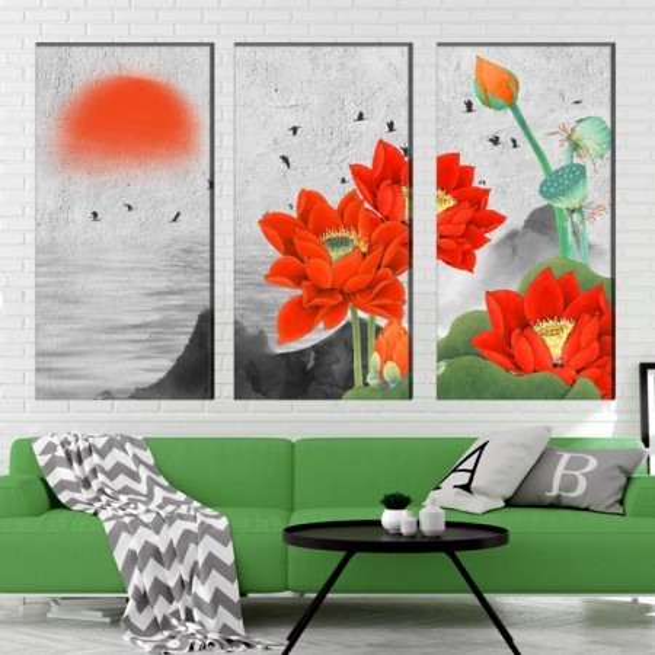 Multicanvas Flori de Lotus Rosii BES24