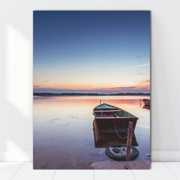Tablou Canvas Barca Pe Lac La Amurg BFS22