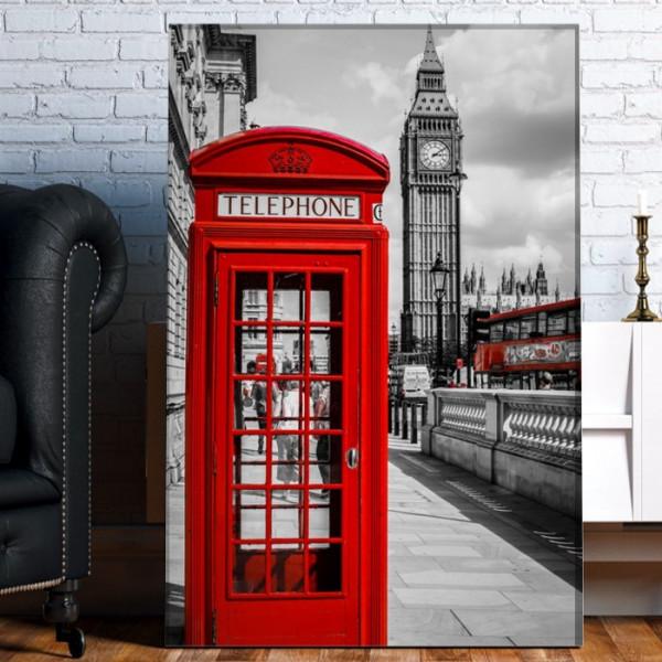 Tablou Canvas Cabina de Telefon Rosie in Londra TLON9