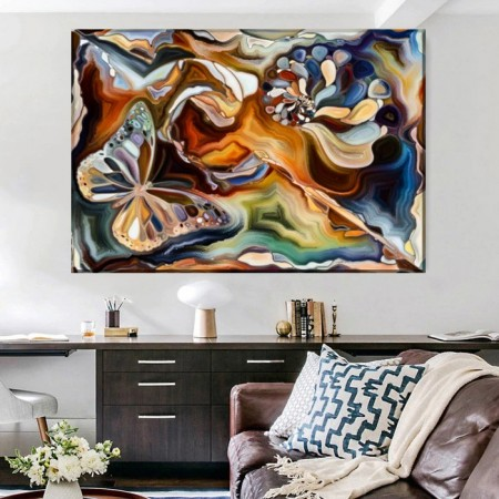 Tablou Canvas Fluture In Forme Abstracte CTB55