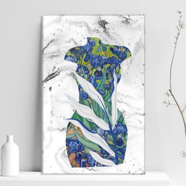 Tablou Canvas Ilustratie Mix Tors de Femeie cu Irisi Van Gogh VVG25C